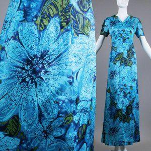 L Vintage 60s Silky Hawaiian Maxi Dress